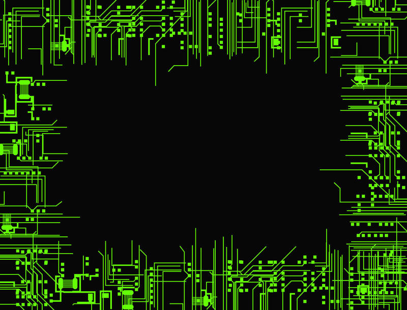 a border or frame composed of green electronic circuit tracks and pathways