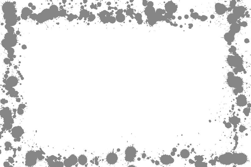 a frame composed of grey ink splats on white