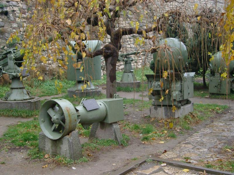 war and milirary equipment, bombs and grenade launchers in a belgrade park