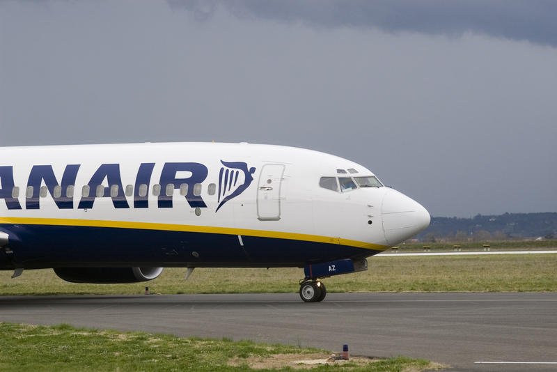 a ryanair plane on the ground