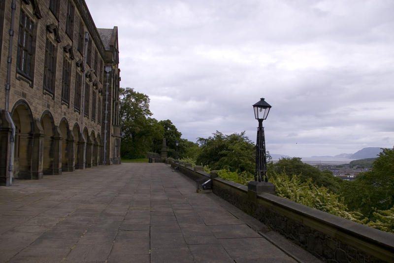 looking down to the town of bangor from the main university building