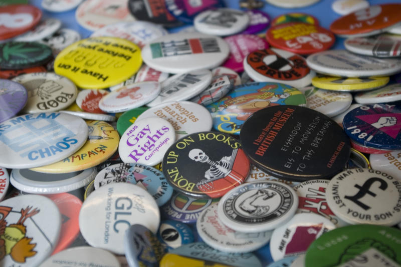 a collection of buttons (pin badges)