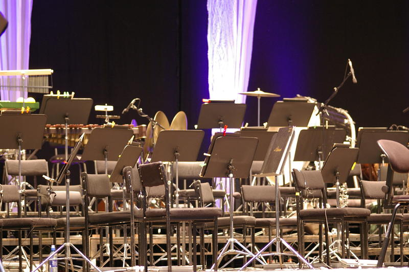 a concert stage setup for an orchestra