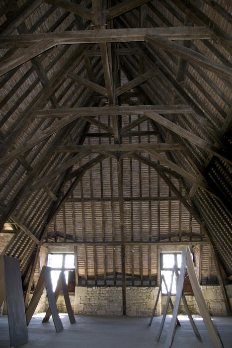interior of an old french barn