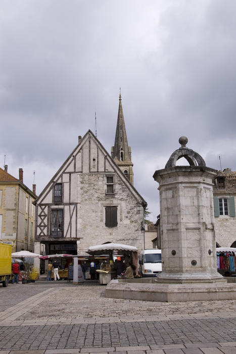 the central market square in a pretty french village