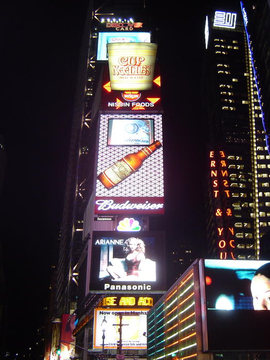 bright lights of new yorks famous times square at night