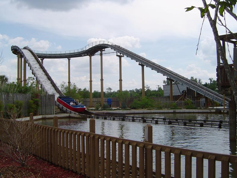 a theme park water splash ride - not model released