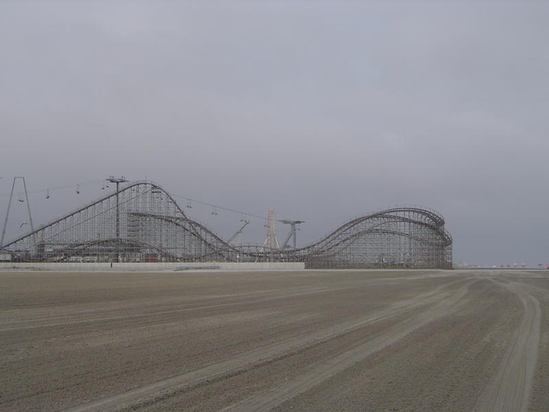 a wooden rollercoaster at an american theme park - not model released
