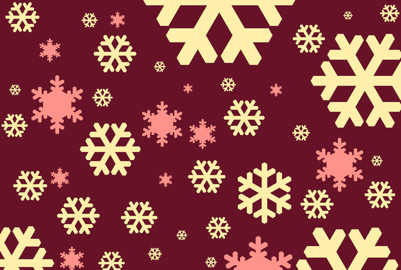 snowflake symbols create festive winter themed illustration on a burgundy colour backdrop