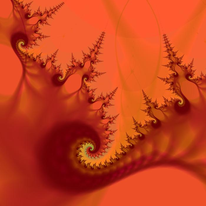 a fractal pattern illustrative of hell, fiery red and sharp pointed lines