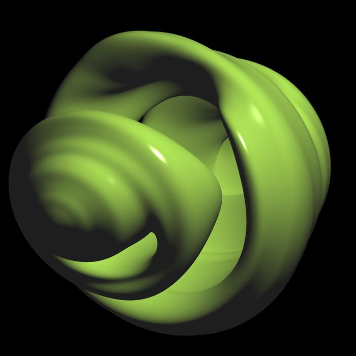 unusual computer generated 3d shape, green with a smooth reflective surface