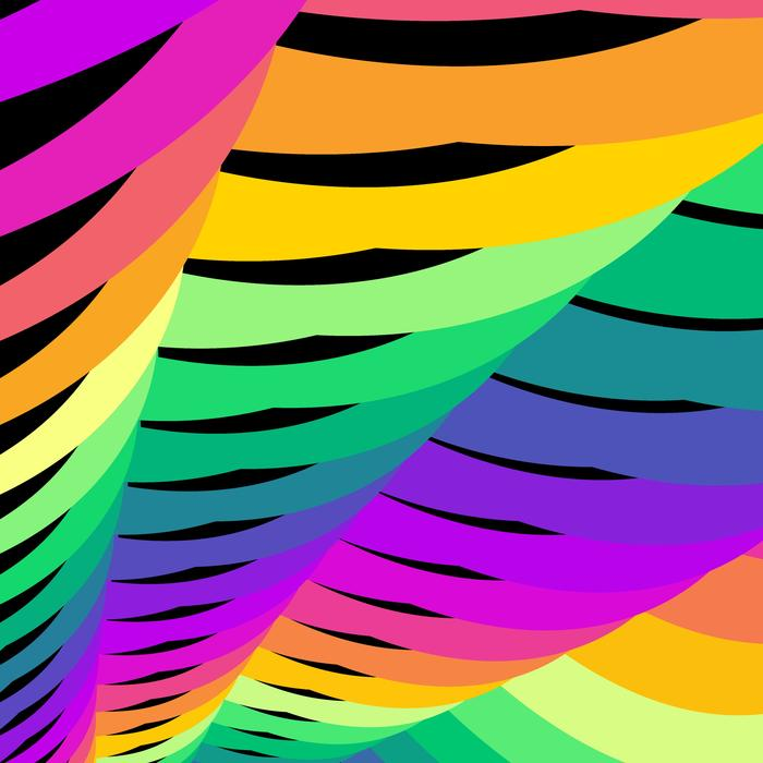 a bright computer generated pattern of rainbo colours and interleaved lines