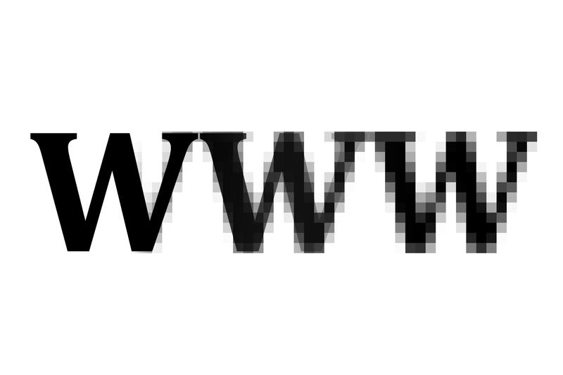 the letters www with a pixelated effect, conceptual of the internet