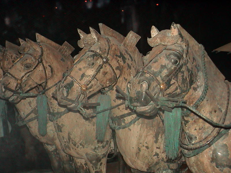Bronze horses buried with the terracotta army near Xian, China