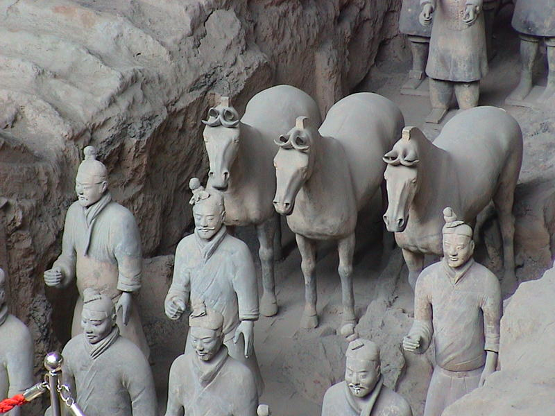 A few of the terracotta warriors unearthed near Xian, China