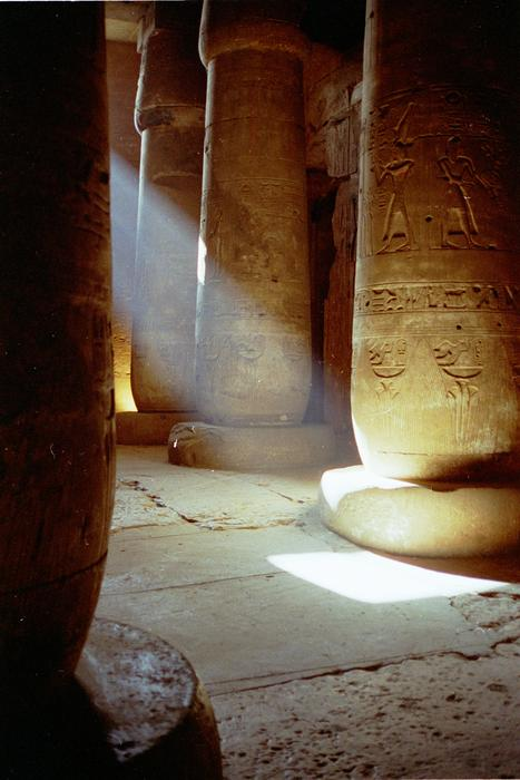 Sunlight on the columns of the temple of Seti I, Abydos, Egypt