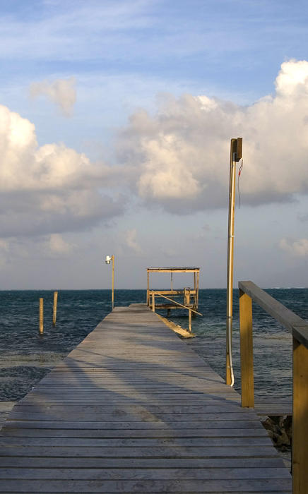 a wooden jetty off the coast of Belize
