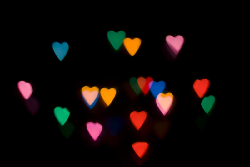 defocused camera effect creating valentine heart shapes