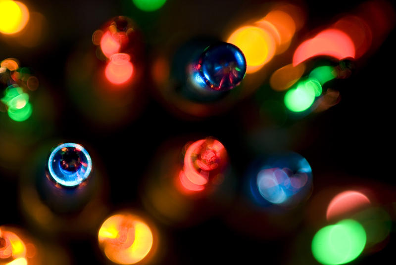 close up on colourful christmas lights
