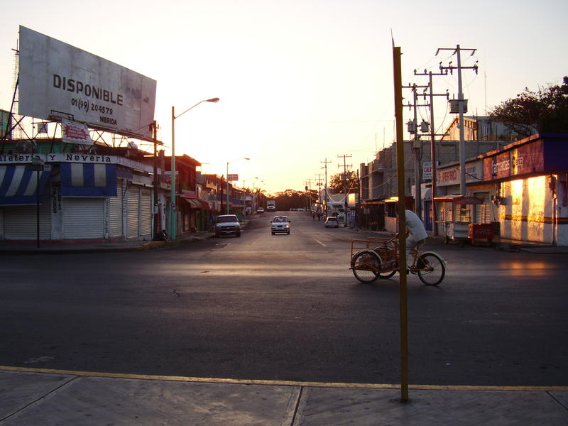A typical mexican street scene at sunset