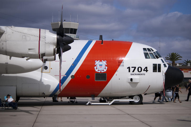 editorial use only : a side view of a us coastguard HC-130 Hercules