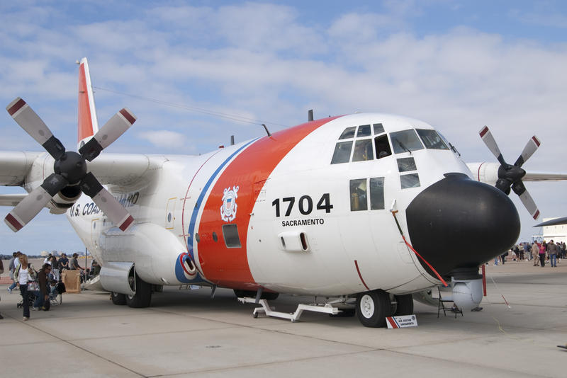 editorial use only : front view of a us coastguard HC-130 Hercules