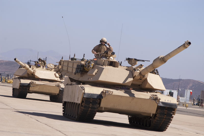 editorial use only : US Army M1 Abrams main battle tank, desert colours
