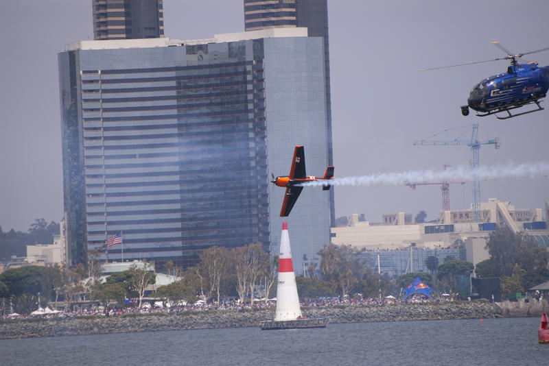 editorial use only : a plane competing in the red bull air race san diego