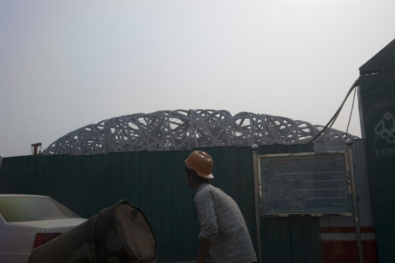 construction of the birds nest stadium in beijing, china