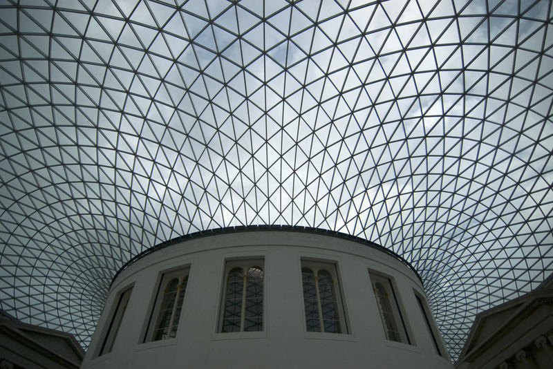 the exterior of the reading room and glass roof of the great court
