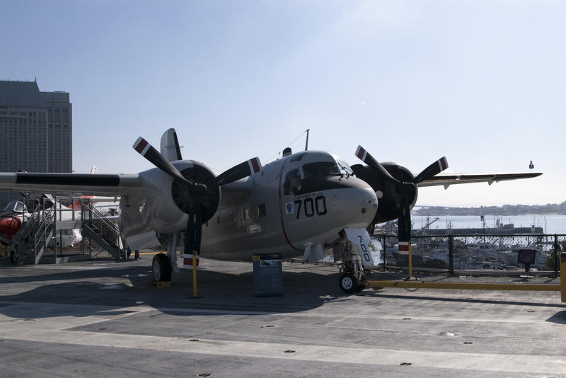 a Grumman C-1 Trader anti-submarine aircraft onboard the aircraft carrier USS midway
