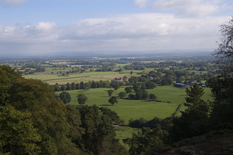 views of english country farmland in the county of cheshire