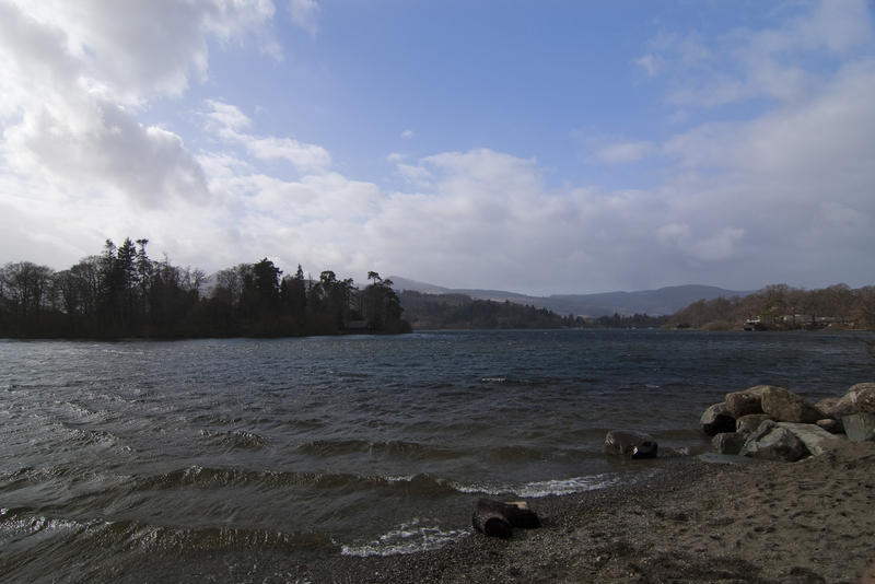 a view from the lake shore over derwent water in the english lake district