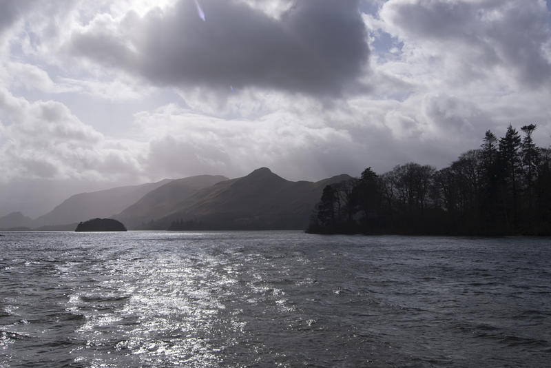 a cloudy day over derwentwater, viewed from a boat