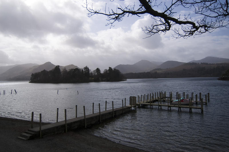 looking out over derwentwater in the english lake district on a stormy day