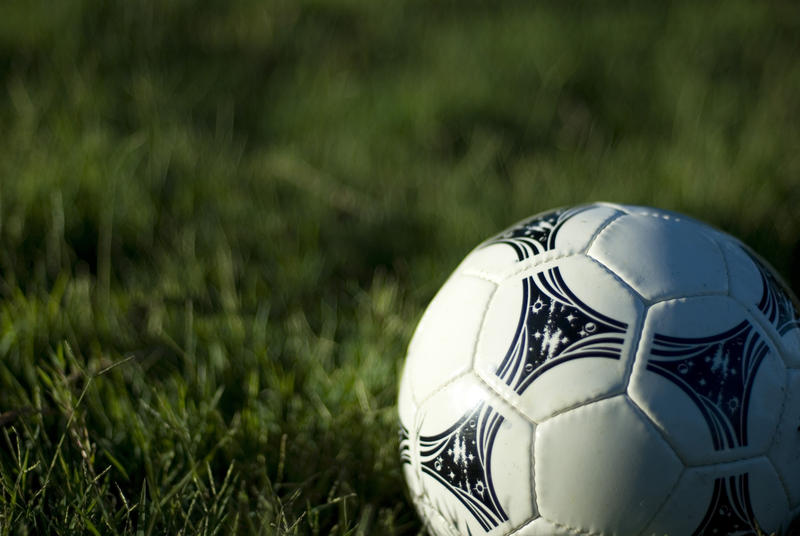 a white leather football on a grassy football pitch