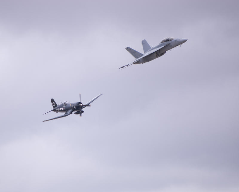 Old versus new, a propeller powered corsair F4U and a jet engined FA18 Hornet