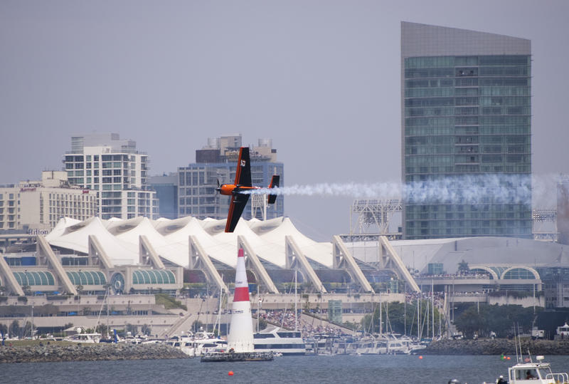 editorial use only : a plane in the red bull air race san diego
