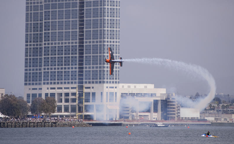 editorial use only : A plane making a tight turn in the red bull air race san diego