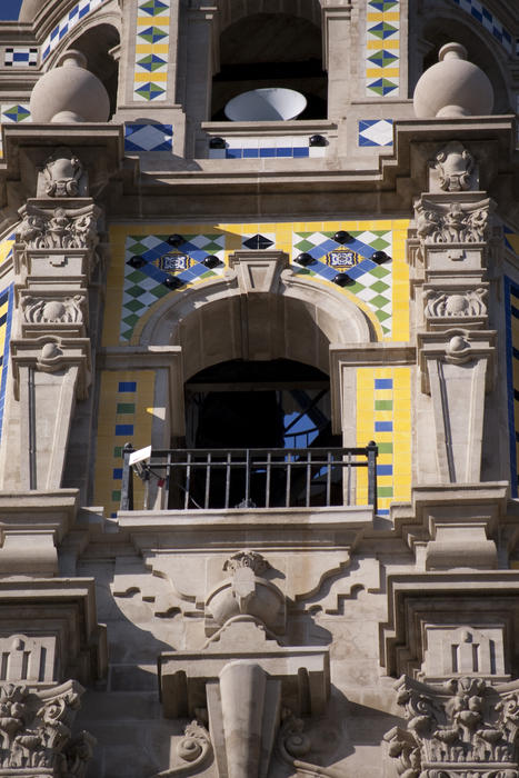 details of the tiles and spanish colonial revival architecture of the california tower, balboa park san diego