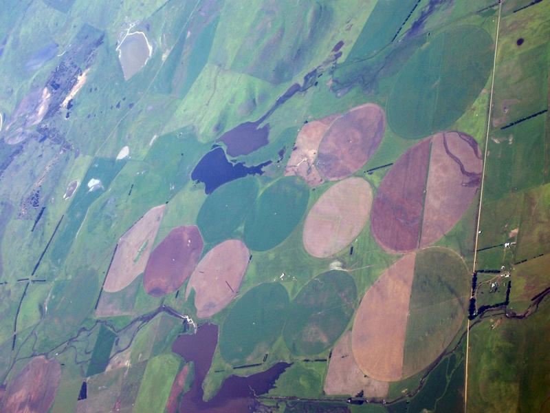 intensive agriculture, viewed from above, circles of irrigated land in trasmania