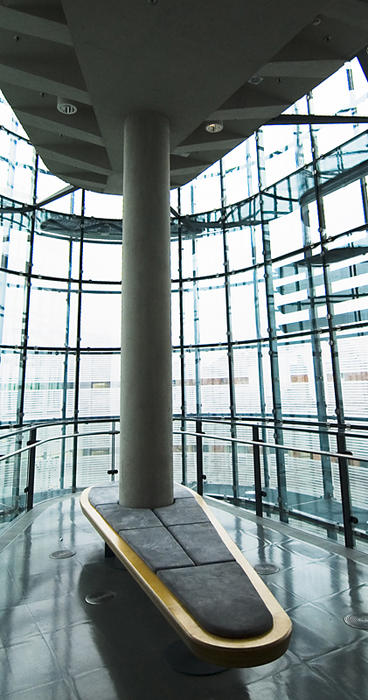 glass interior of the manchester urbis viewing gallery
