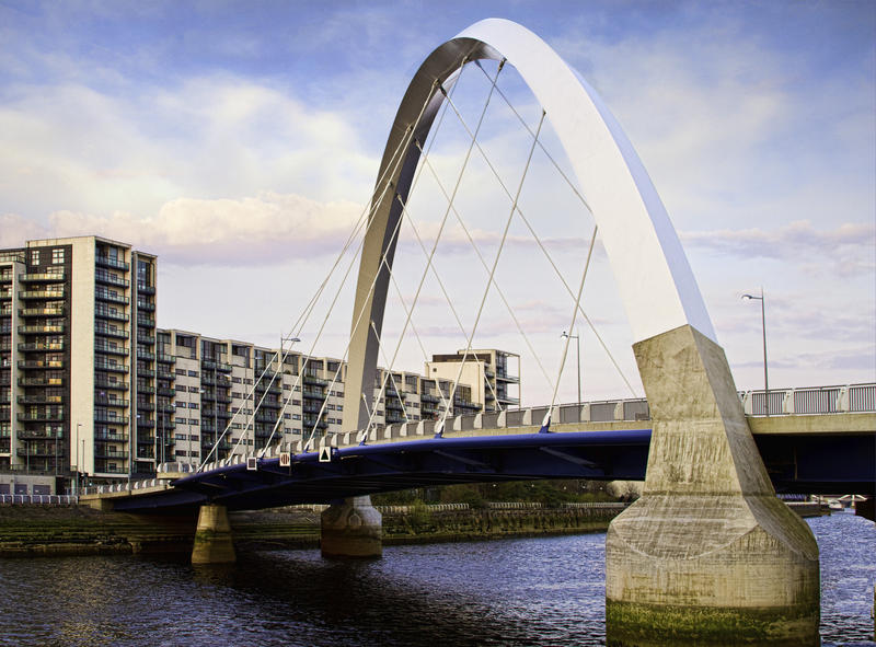 <p> A new road bridge across the Clyde in Glasgow, nick-named the 'Squinty Bridge' because of the unusual angle of the suspension.</p>