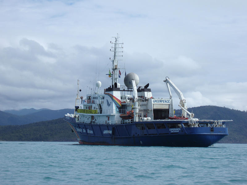 MV Esperanza Greenpeace Ship off shore