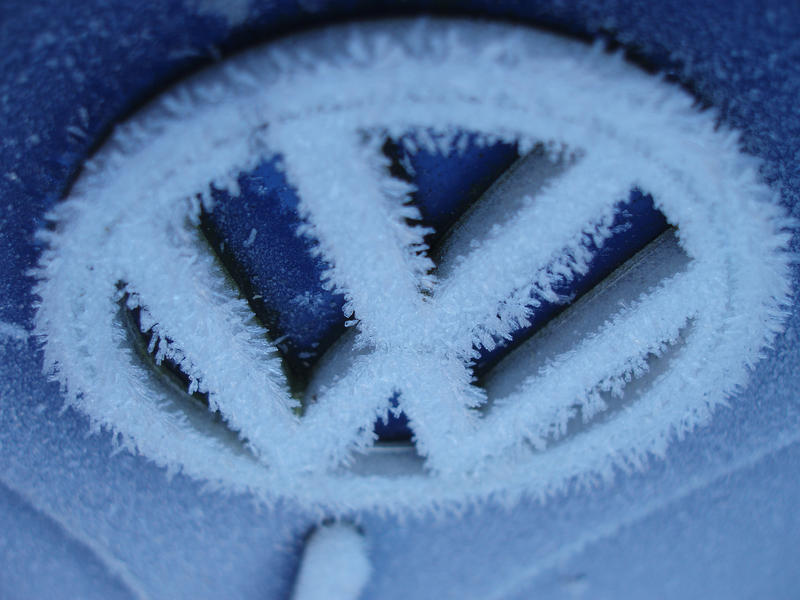 a frosted up VW badge