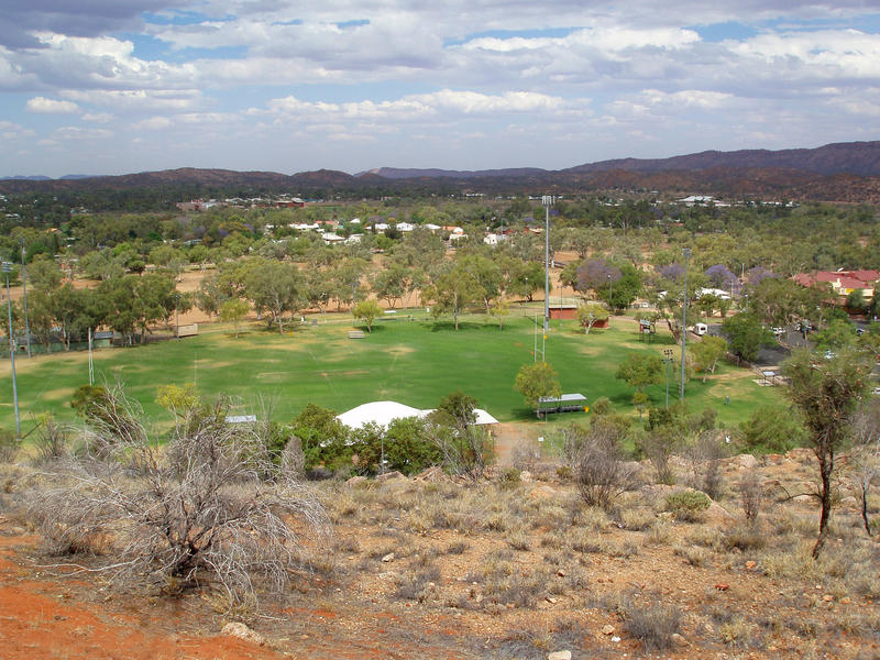 looking down from anzac hill to alice springs sports oval