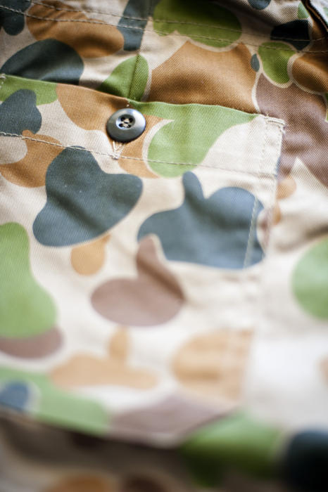 details of the pocket on a pair of army camouflage fatigues