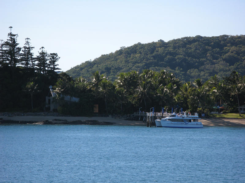 a ferry at the jetty on daydream island