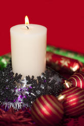 3610-burning festive candle