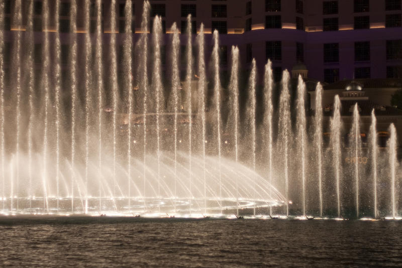 editorial use only: bellagio fountains show at night